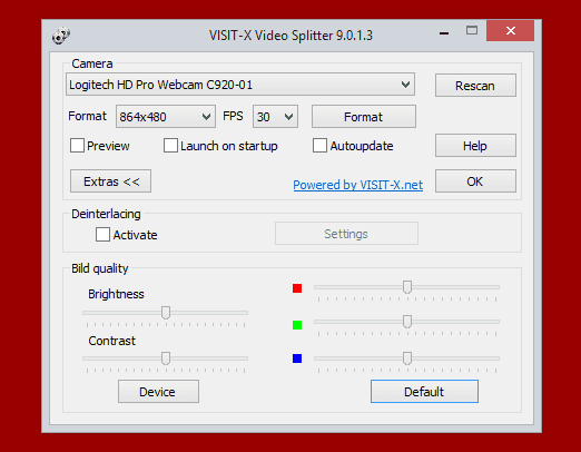 Скриншот настроек сплиттера Visit-x